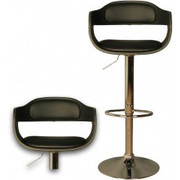 Anna Black Chrome Plated Black Faux Leather Seat Pad Gas Lift Stool