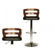 Ellie Chrome Plated Black Faux Leather Seat Pad Gas Lift Stool