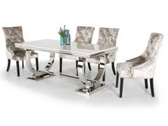 Arianna 180cm Dining Table + 6 Eden Knockerback Chairs-Mink