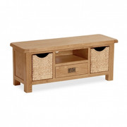 Salisbury Oak Large TV Unit with Baskets