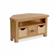 Salisbury Oak Corner TV Unit with Baskets