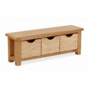 Salisbury Oak Bench with Baskets