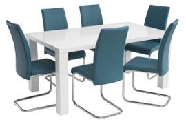 Monaco Grey Gloss Dining Table (1.6m) + Monaco Dining Chairs