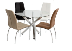 Kansas glass round dining table  + 4 Kansas Dining Chairs