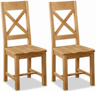 Salisbury Oak Cross Chair With Wooden Seat