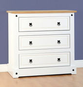 Corona 3 Drawer Chest-White