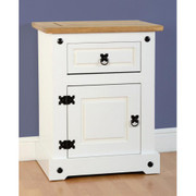 Corona 1 Drawer 1 Door Bedside Cabinet-White