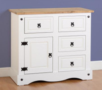 Corona 1 Door 4 Drawer Sideboard-White