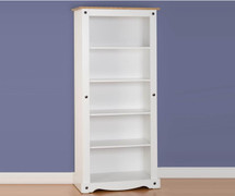 Corona Tall Bookcase-White