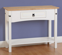 Corona 1 Drawer Console Table with Shelf-White