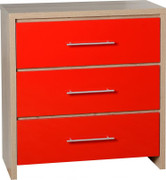 Seville 3 Drawer Chest-Red