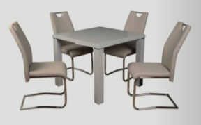 Clarus Dining Set with Khaki Chairs