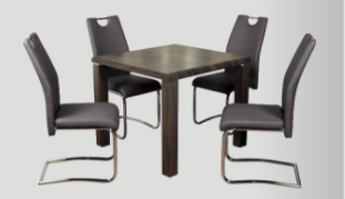 Encore Charcoal Dining Set with Grey Chairs