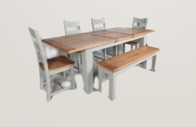 Danube French Grey Dining Set Table + 4 Chairs + Bench