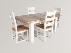 Danube White Dining Set Table + 4 Chairs
