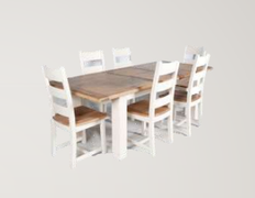 Danube White Dining Set Table + 6 Chairs