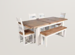 Danube White Dining Set Table + 4 Chairs + Bench