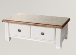 Danube White Coffee Table with Drawers