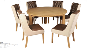 Treviso Round Dining Set with Oliva Tan/Biege Dining Chairs