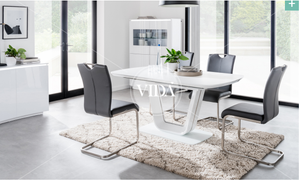 Lazzaro White with 6  Dining Chair Set