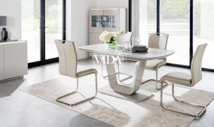 Lazzaro Cappucino with 6  Dining Chair Set