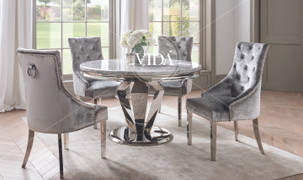 Arturo Round  Dining Set with 4 Belvedere Chairs