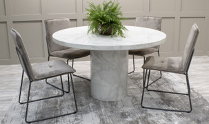 Carra Round Dining Set with 4 Soren Chairs