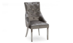 Belvedere Dining Chair-Pewter Velvet