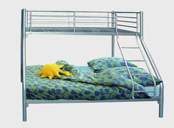 Andy Triple Bunk Bed  Base is a 4ft6 double size Top is a 3ft single size  Available in silver,black and white colours