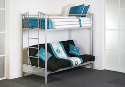 Atlanta Futon Bunk Beds Adjustable lower bunk seating feature  Available in Silver Colour  top 3ft size  base 4ft6 size