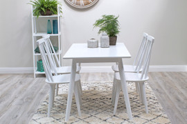 Isla Dining Set with 4 Chairs 120 cm-White