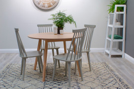 Isla Round Dining Set with 4 Chairs -Beech