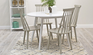 Isla Round Dining Set with 4 Chairs-White