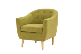 Fulham Chenille Fabric Olive Green Chair