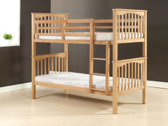 Sandra Bunk Bed Beech Colour  Extra strong solid wood bunks  takes 2 single 3ft mattress
