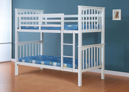 Sandra Bunk Bed white Colour  Extra strong painted solid wood  takes 2 single 3ft mattress