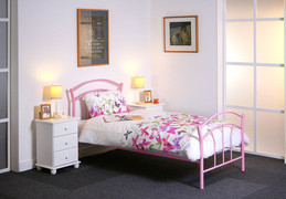 Amy Pink 3ft Single Bed  METAL BED