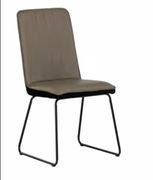 Cadiz Dining Chair-Taupe Pu with Black Velvet