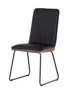 Cadiz Dining Chair-Black Pu with Taupe Velvet