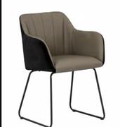 Cadiz  Arm Chair-Taupe Pu with Black Velvet