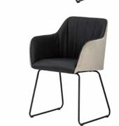 Cadiz  Arm Chair-Black Pu with Taupe Velvet