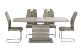 Argenta Dining Set with 6 Chair-Latte ( Ext. 140 cm)