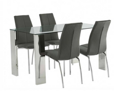 Kansa Glass Dining Set with 4 Chairs (140 cm)