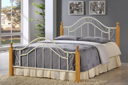 Baltimore Cream 4ft Small Double Bed    Metal and solid wooden bed