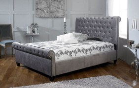 LB19 Bed 6'-Silver Velvet