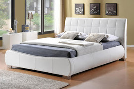 LB10 Bed 6'-White Faux Leather