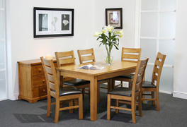 Columbia 5ft Dining Set with 6 Columbia Dining Chairs  Solid Wood Dining Table and Chairs