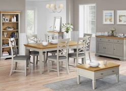 Chester Compact Butterfly Ext. Set with 4 Chairs-Grey Oak