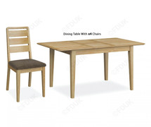 Bath Oak Compact Ext. Dining Set with 4 Chairs