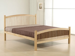 Carla 4ft6 Double Bed    Solid wooden ends beech colour with a metal base bed